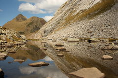 Mountain range reflecting on lake in Pyrenees Royalty Free Stock Photos