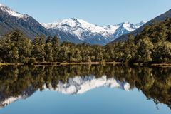 Mountain range reflecting in lake in Southern Alps in New Zealand Stock Photos