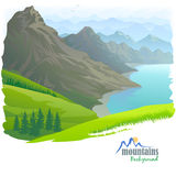 Mountain Range , River and Green Valley Royalty Free Stock Image