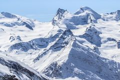 The mountain range in Saas Fee, Switzerland Stock Image
