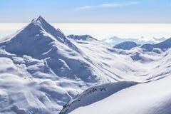 The mountain range in Saas Fee, Switzerland Royalty Free Stock Photos
