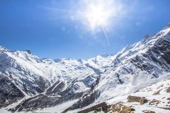 The mountain range in Saas Fee, Switzerland Royalty Free Stock Photography