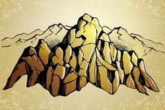 Mountain range sketch background Royalty Free Stock Photo