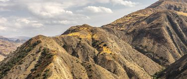 Mountain range and sky in Armenia wide screen. Horizontal stock photography