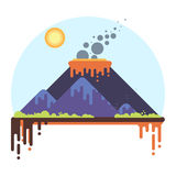 Mountain range with a smoking volcano. Flat Style Vector Illustration Stock Photos
