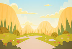 Mountain Range Spring Landscape Country Road Nature Background. Flat Vector Illustration Royalty Free Stock Photos