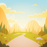 Mountain Range Spring Landscape Country Road Nature Background. Flat Vector Illustration Royalty Free Stock Photography