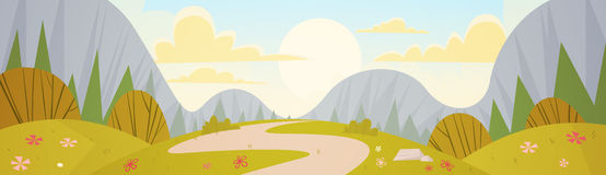 Mountain Range Spring Landscape Country Road Nature Background. Flat Vector Illustration Royalty Free Stock Image