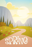Mountain Range Spring Landscape Country Road Nature Background. Flat Vector Illustration Stock Photography
