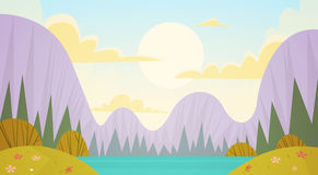 Mountain Range Spring Landscape Country Road Nature Background. Flat Vector Illustration Stock Photos