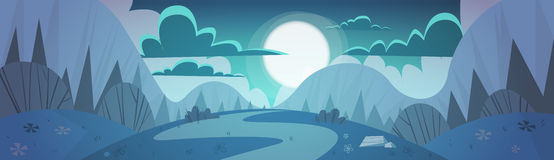 Mountain Range Spring Night Landscape Country Road Nature Background Royalty Free Stock Photos