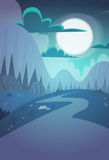 Mountain Range Spring Night Landscape Country Road Nature Background Royalty Free Stock Images