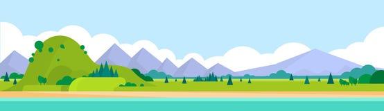 Mountain Range Summer Landscape Horizontal Stock Image