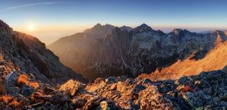 Mountain range with sun in Slovakia, Slavkovsky peak Stock Photo
