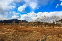Mountain range on a sunny day with clouds. Taken at Lianhuahu attractive sites , hailin city ,heilongjiang province , china Royalty Free Stock Images