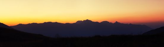 Mountain range before sunrise. In the national Park Stock Photo