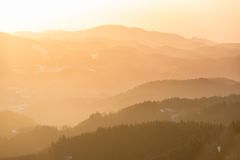 Mountain range at sunset, Black Forest, Germany Royalty Free Stock Photography