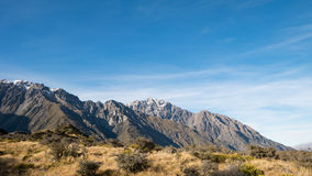 Mountain Range at Tasman Valley Walk Track, Aoraki, New Zealand Royalty Free Stock Photos