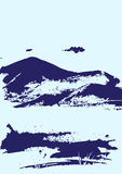 Mountain range with texture. Blue background. Landscape sketch. Royalty Free Stock Photo