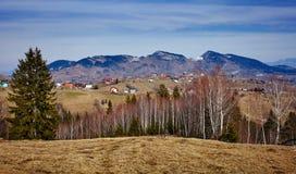 Mountain range and trees Stock Photo