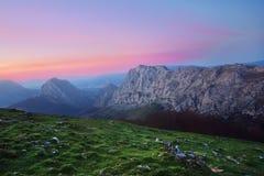 Mountain range in Urkiola at evening Royalty Free Stock Photos