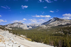 Mountain range and valley view in Yosemite National Park, California, USA Royalty Free Stock Photo