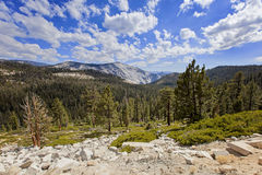 Mountain range and valley view in Yosemite National Park, California, USA royalty free stock photography