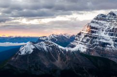 Mountain range view at colorful sunrise, Banff, Canada Royalty Free Stock Photo