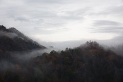 Mountain Range View With Mist Stock Photography