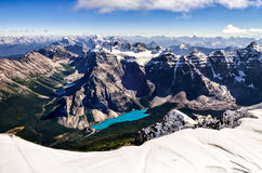 Mountain range view from Mt Temple with Moraine lake. Banff, Rocky Mountains, Alberta, Canada Stock Photography