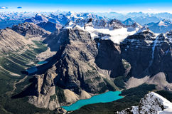 Mountain range view from Mt Temple with Moraine lake, Banff. Rocky Mountains, Alberta, Canada Stock Photos