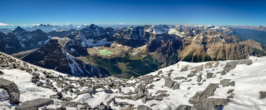 Mountain range view panorama with Paradise valley from Mt Temple. Banff, Canada Stock Photo