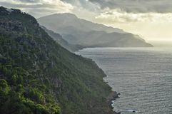 Mountain range view from view point on majorca balearic island in spain. Mountain view on mallorca island in spain Royalty Free Stock Photo