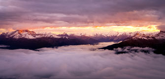 Mountain range viewat colorful sunrise, Rocky mountains, Canada Stock Image