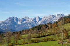 Mountain range Wilder Kaiser in Tirol. Panormaic view of famous mountain range near Kitzbuhel in autumn royalty free stock photos