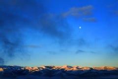 Mountain Range Winter Moonlight Full Moon Stock Image