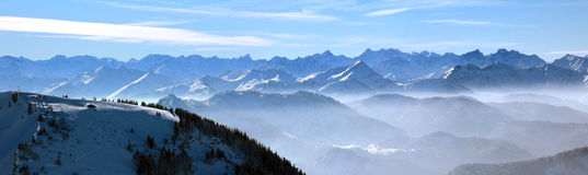 Mountain range in the wintry bavarian alps Royalty Free Stock Photos