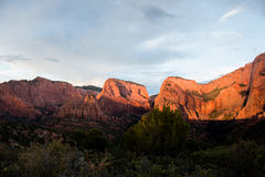 Mountain Range in Zion's National Park Stock Photos