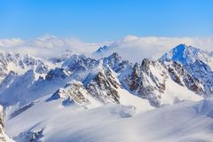 Mountain Ranges Covered in Snow stock image