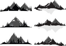 Mountain Ranges and Scenic Scenes. Various vector illustrations of mountains and hills with trees and water. All objects can be ungrouped and easily moved around Royalty Free Stock Images