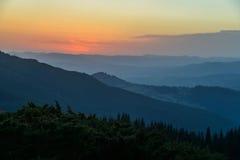Mountain ranges at sunrise Royalty Free Stock Photo