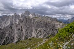 Mountain ranges surrounding the Tre Cime Park in Italy stock image