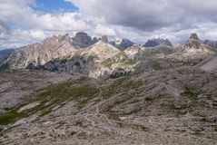 Mountain ranges surrounding the Tre Cime Park in Italy royalty free stock images