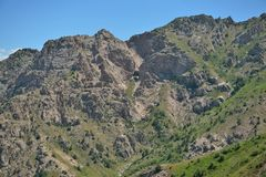 The mountain ranges of the Tien Shan near Tashkent. The resort zone of Chimgan Stock Photography
