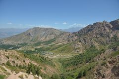 The mountain ranges of the Tien Shan near Tashkent. The resort zone of Chimgan Royalty Free Stock Photography