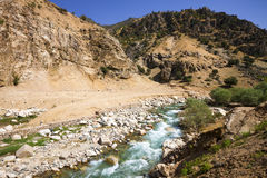 Mountain rapid river. Under blue sky in Central Asia Stock Photography