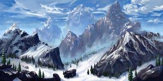 Mountain. Realistic Style. Video Game`s Digital CG Artwork, Concept Illustration, Realistic Cartoon Style Scene Design vector illustration