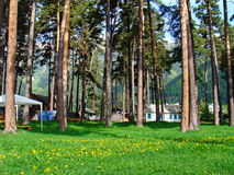 Mountain recreation camp. Mountain camp in the  Caucasus mountains, wild summer nature Stock Photography