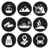 Mountain recreation icons Royalty Free Stock Images