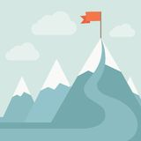 Mountain with red flag Stock Photography